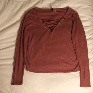 H&M salmon long sleeve blouse